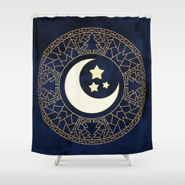 MANDALA MOON AND STARS Shower Curtain