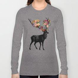 Spring Itself Deer Floral (Cream) Long Sleeve T-shirt