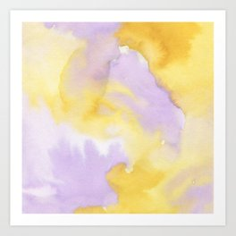 Lilac lavender sunflower yellow abstract watercolor Art Print