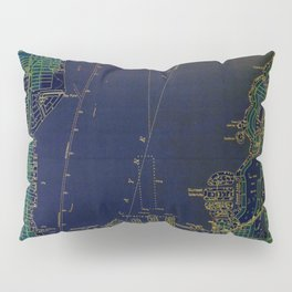 Miami old map year 1950, united states vintage maps. green and blue artwork Pillow Sham