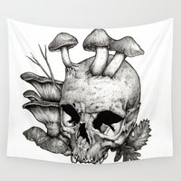 mushrooms Wall Tapestries featuring Mushrooms by Arnaud Gomet