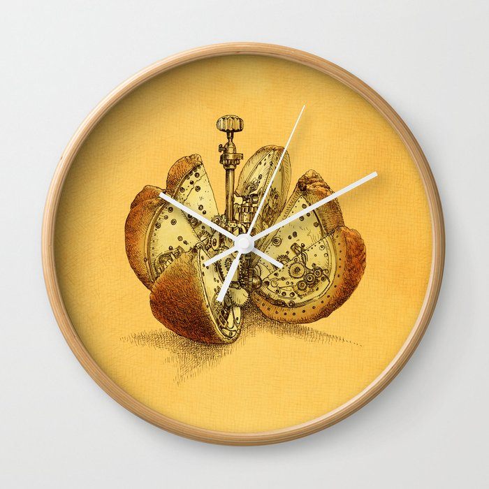 Steampunk Orange Wall Clock