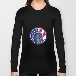 Native American Indian Chief USA Flag Icon Long Sleeve T-shirt