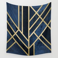 art deco Wall Tapestries featuring Art Deco Midnight by Elisabeth Fredriksson