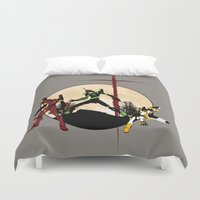 evangelion Duvet Covers featuring Neon Genesis Evangelion - Hill Top by kamonkey