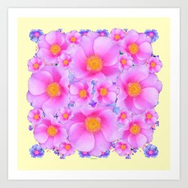 Pink ROSES & CREAM COLOR ART Art Print
