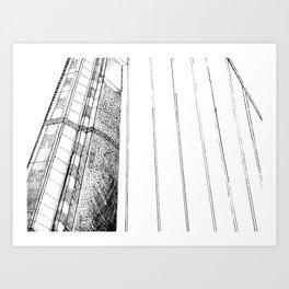 Monotone Bridge Art Print
