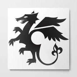 dragon - black Metal Print