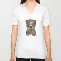 otter V-neck T-shirts featuring little otter by bri.buckley