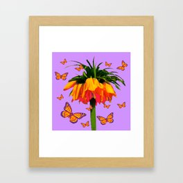 LILAC YELLOW MONARCH BUTTERFLIES CROWN IMPERIAL Framed Art Print