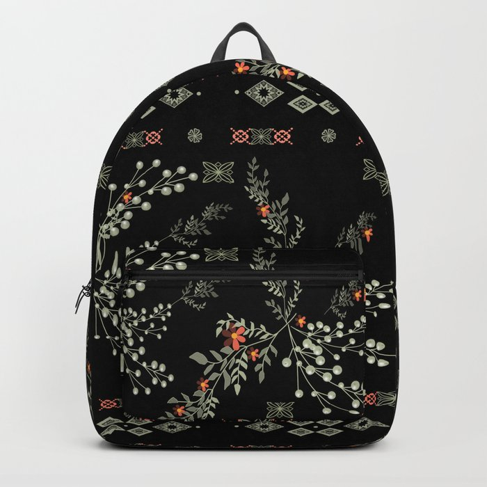 Seamless abstract floral pattern on black background Backpack