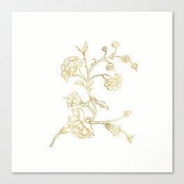 Golden flower on white background . artwork . Canvas Print