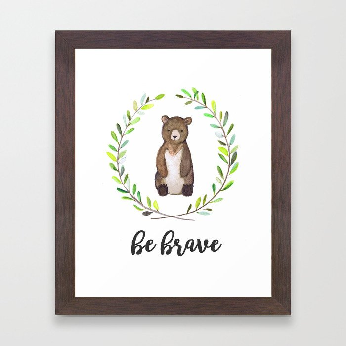 Woodland Creature Animal Tribal Nursery Bear Baby Art Wall Decor Print Be Brave Wreath Watercolor Framed Art Print
