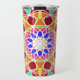 bright fractal mandala Travel Mug