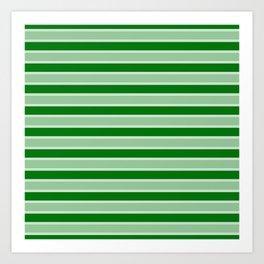 Large Horizontal Christmas Holly and Ivy Green Velvet Bed Stripes Art Print