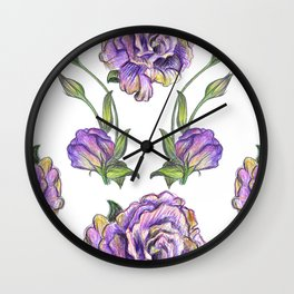 Coloured pencil Lisianthus Wall Clock