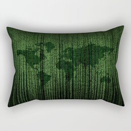 World Map Matrix Code Data Networking Espionage Web Green Rectangular Pillow