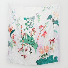 Abstract Jungle Floral on Pink and White Wall Tapestry