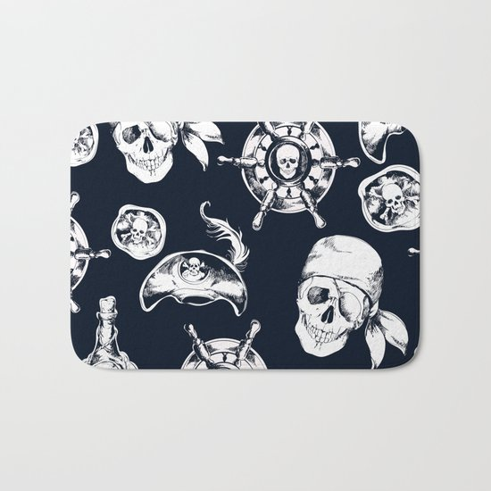Navy Blue Pirate Pattern Bath Mat