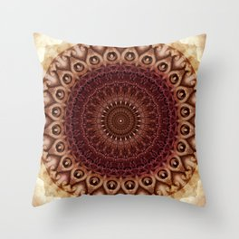 Mandala in brown and red tones Throw Pillow