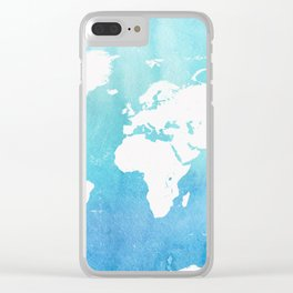 World map. Tiffany Clear iPhone Case