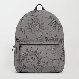 Grey Magic Celestial Sun Moon Stars Backpack