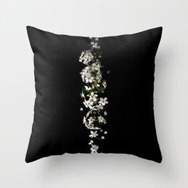 White Blossoms on Black Throw Pillow