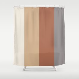 Earthy Solid Vertical Blocks Inspired by Cavern Clay Sw 7701 and Accent Colors Shower Curtain