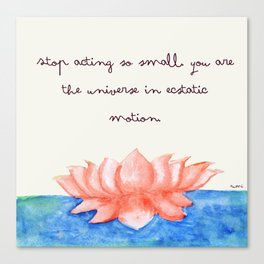 Watercolour Lilly with Rumi Quote by Tarachand Canvas Print
