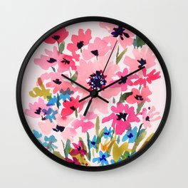 Peachy Wildflowers Wall Clock