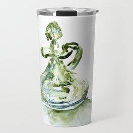 Green Depression Glass WaterColour by CheyAnne Sexton Travel Mug