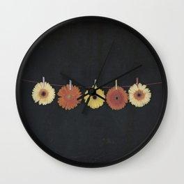 five gerbera Wall Clock