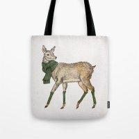 deer Tote Bags featuring Deer by David Fleck