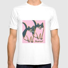 All is Purrfect White Mens Fitted Tee MEDIUM