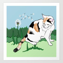 Calico Cat and Dandelion Art Print