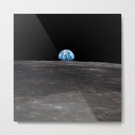 Earth Rising Over Moon's Horizon Metal Print