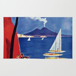 Napels Italy retro vintage travel ad Rug