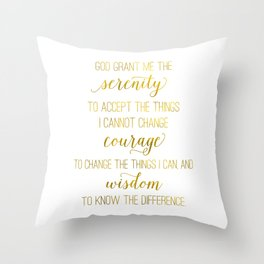 Serenity prayer print, Serenity prayer print wall art, faux gold foil Serenity prayer Throw Pillow