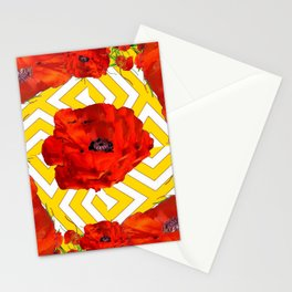 YELLOW CONTEMPORARY ORANGE-RED POPPY PATTERNS Stationery Cards