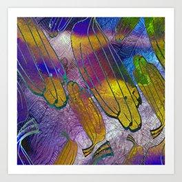 Watercolor textured pattern. Bananas. Art Print