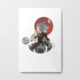 Red circle 2B Nier: Automata Metal Print