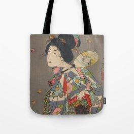 Japanese Art Print - Woman and Fireflies Tote Bag