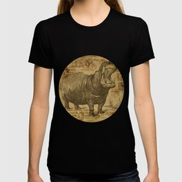 Vintage retro Hippo wildlife animal africa T-shirt