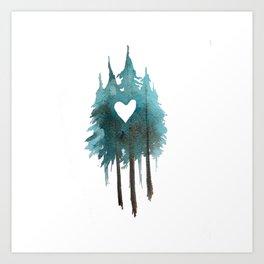 Forest Love - heart cutout watercolor artwork Art Print