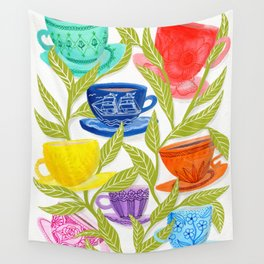 Tea Cups, Patterns, and Leaves Wall Tapestry