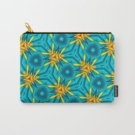 Birds of Paradise Floral Pattern \\ Unique Tropical Vibes \\ Green Yellow Blue Orange Color Scheme Carry-All Pouch