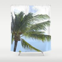 palm tree Shower Curtains featuring Palm Tree by Tasha Saussey