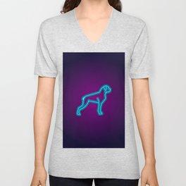 NEON BOXER DOG Unisex V-Neck