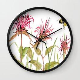 Flowers Bee Balm Pink Garden Wildflowers Nature Art Wall Clock
