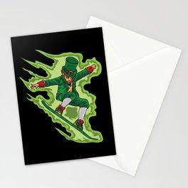 Snowboard Leprechaun - Irish Winter Sports Stationery Cards